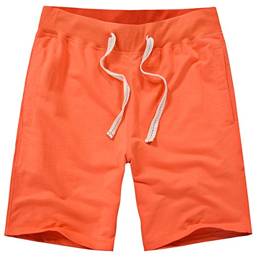 Amy Coulee Men's Cotton Casual Short with Pockets (L, Orange) (Large Casual Shorts)