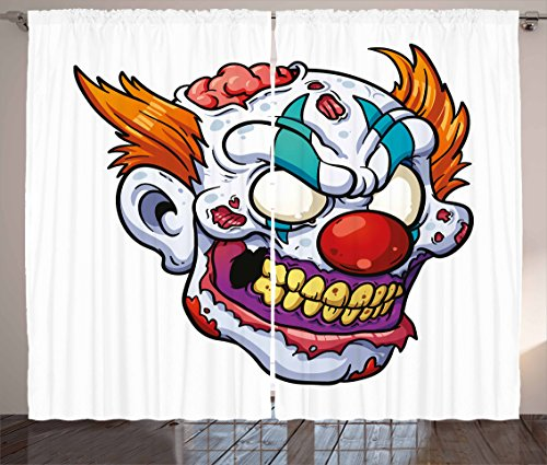 Lunarable Scary Curtains, Zombie Clown Head in Cartoon Style Evil Monster with Scars Halloween Horror Mascot, Living Room Bedroom Window Drapes 2 Panel Set, 108