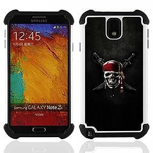 """SAMSUNG Galaxy Note 3 III / N9000 / N9005 - 3 en 1 impreso colorido de Altas Prestaciones PC Funda chaqueta Negro cubierta gel silicona suave (Cresta del cráneo del pirata y de la espada"""")"""