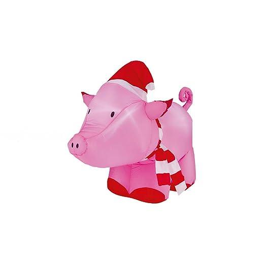 Hinchable de cerdo con gorro de Papá Noel con luz LED de ...