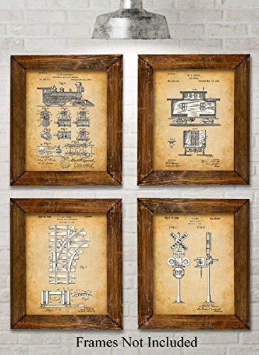Original Railroad Trains Patent Art Prints - Set of Four Photos (8x10) Unframed - Great Gift for Rail Fans (Vintage Pictures Train)