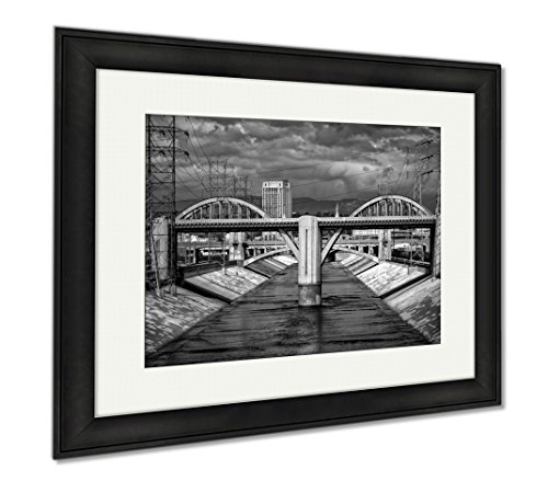 Ashley Framed Prints Sixth Street Viaduct And Los Angeles River In Black And White, Wall Art Home Decoration, Black/White, 26x30 (frame size), Black Frame, AG6438121 by Ashley Framed Prints