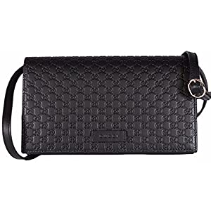 e47b6c6891e Gucci Women s Leather Micro GG Guccissima Mini Crossbody Wallet Bag Purse ( Black)