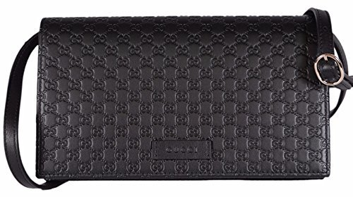 Gucci Women's Leather Micro GG Guccissima Mini Crossbody Wallet Bag Purse (Black) Black Guccissima Leather