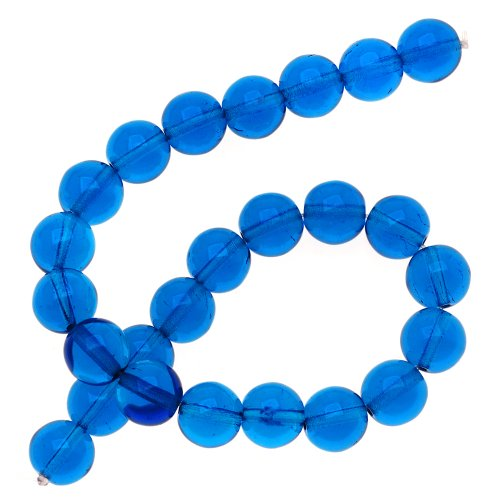 25 Round 8mm Beads (Czech Glass Druk 25-Piece Round Beads, 8mm, Capri Blue)