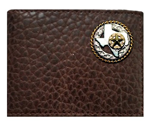 Brown made in USA Proudly a Wallet fold Buffalo ID Concho Leather Flip Chocolate on Custom Texas American Star the Rugged and Bi Rope UqwRPHRBf