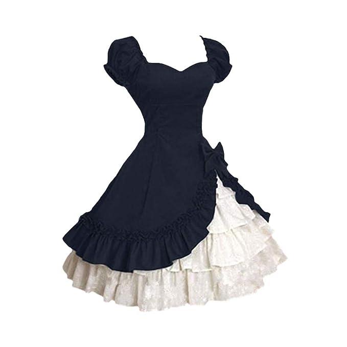 Mujeres Vestido Retro Vestido Gothic Lolita Vestido De Princesa Manga Corta Cintura Alta Ruffle Vestido De Noche Elegante Color De Empalme Vestido de ...