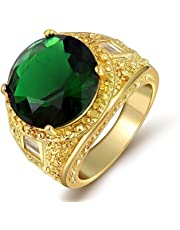 Men's 18K Gold Plated Ring with Emerald Green Gemstone Size US 10