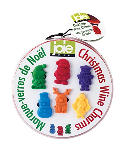 Joie Christmas Wine Charm Set, BPA-Free Silicone, 6-Piece Set