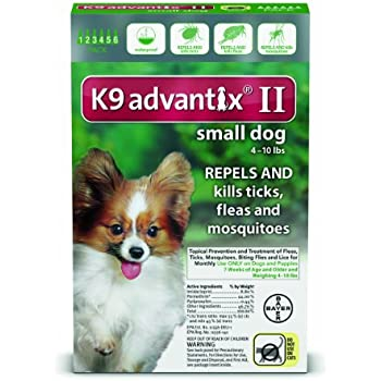 K9 Advantix II Flea, Tick and Mosquito prevention for Small Dogs 4 - 10 lbs, 6 doses