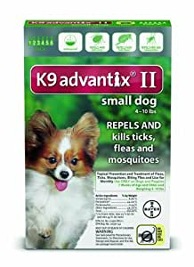 Bayer K9 Advantix II Flea, Tick and Mosquito Prevention for Small Dogs, 4 - 10 lb, 6 doses