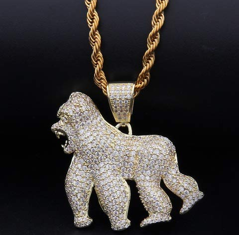 Gold Crystalla Hip-hop Zircon Necklace//King Kong Roar Gorilla Pendant//Walking Gorilla Ornament