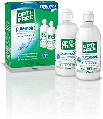 OPTI-FREE Puremoist Multi-Purpose Disinfecting Solution with Lens Case, Twin Pack, 10-Ounces Each
