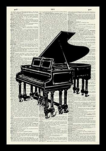 128 buyloii Grand Piano Art Print-Music Art Print-Piano Art Print-Art Print-Vintage Art-Vintage Art Print-Illustration-Picture-Vintage Dictionary Art Print -Book Print-Wall Art A4 12x8 ()