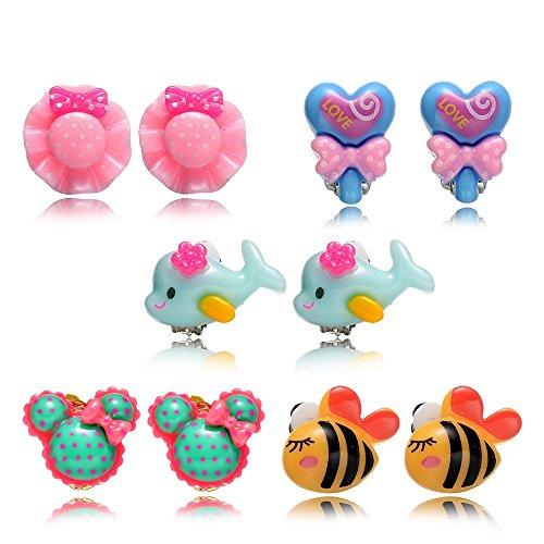 Clip On Earrings (5 Pairs Hypoallergenic Princess Clip On Earrings Set for Kids Toddler Little Girls)