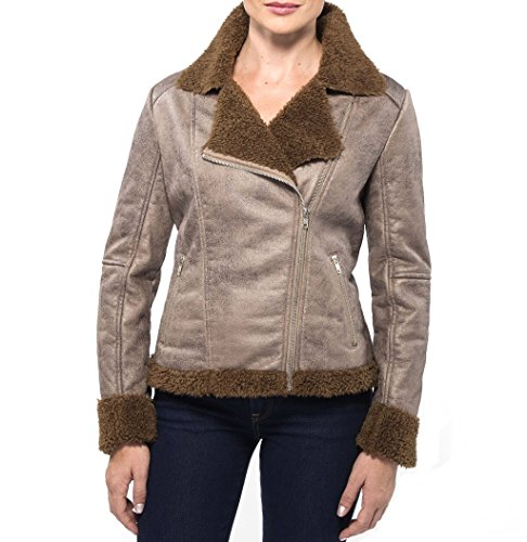 Leather Jackets Alpine (alpine swiss Eva Womens Brown Faux Shearling Asymmetrical Biker Jacket Small)