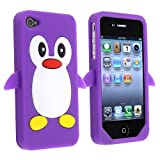eForCity Penguin Silicone Skin Case compatible with Apple® iPhone® 4 / 4S, Purple