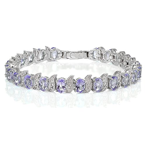 Sterling Silver Amethyst Oval and S Tennis Bracelet