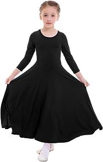 FYMNSI Bambina Liturgico Danza Vestito Ragazze Tinta Unita Manica Lunga Swing Lungo Maxi Gonna Lirico Culto Costume Tunica Abbigliamento da Ballo Balletto per 3-14 Anni