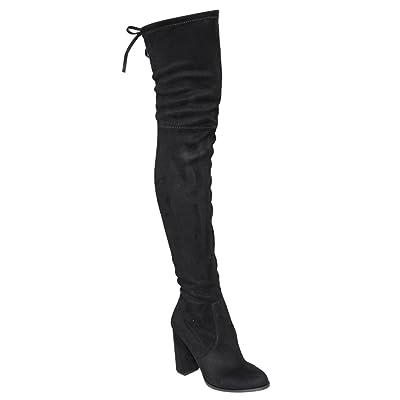 Beston GF58 Women's Drawstring Inside Zip Block Heel Snug Fit Thigh High Boots