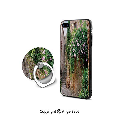 - Case Compatible iPhone 8 & iPhone 7 (NOT Plus) with Ring Holder Kickstand,Summer Garden Flowers Marigold Stones Antique Ancient House in Spain Art Print,Cushion Protective Cute Case,Multicolor