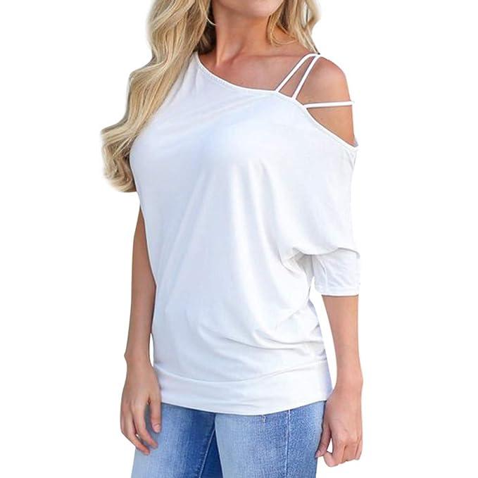 Ropa Mujer Primavera 2019 Fossen Blusa Mujer Camisa De Vestir Mujer SóLido Escote AsiméTrico Correa para El Hombro FríO Camiseta De Manga Corta Tops: ...