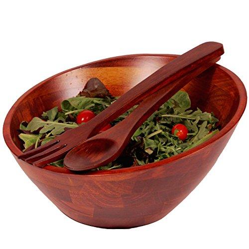 Woodard & Charles WC801-3 3 Piece Angle Wood Salad Bowl and Servers Set, ()