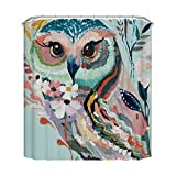 Owl Shower Curtain Mildew resistant fabric waterproof polyester eco-friendly anti bacterial plastic rust proof grommets 72 x 72 stall shower curtain white bathroom liners (72x72, Owl)