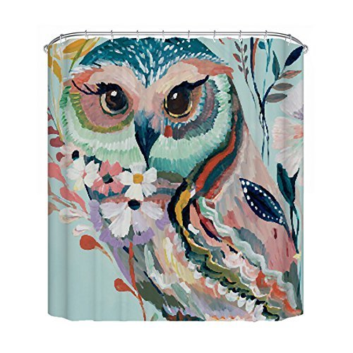 Mildew resistant fabric waterproof polyester eco-friendly anti bacterial plastic rust proof grommets 72 x 72 stall shower curtain white bathroom liners (72x72, Owl)