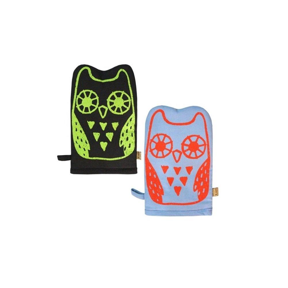 LMNOP Owl Cooking Kitchen Gloves Set Dark Gray and Light Blue Oven Mitts PotHolders