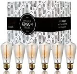 Our vintage inspired, exposed filament Edison vintage light bulb add a rustic, romantic flair to any room and decor. These large, crystal clear light bulbs are fashioned in the shape of an elongated teardrop. Inside, they're filled with hand...