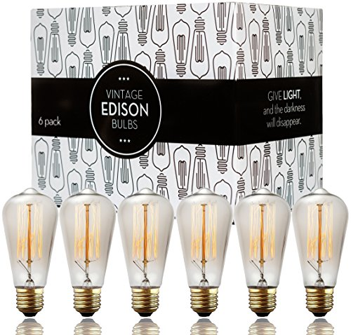 Edison bulbs - Scandic Gear - 6 pack of 60 watt Filament Vintage Antique Style Incandescent Light bulb with Squirrel Cage Design - E26 E27 ST64 Dimmable for Chandeliers Pendant Lighting Wall Sconces