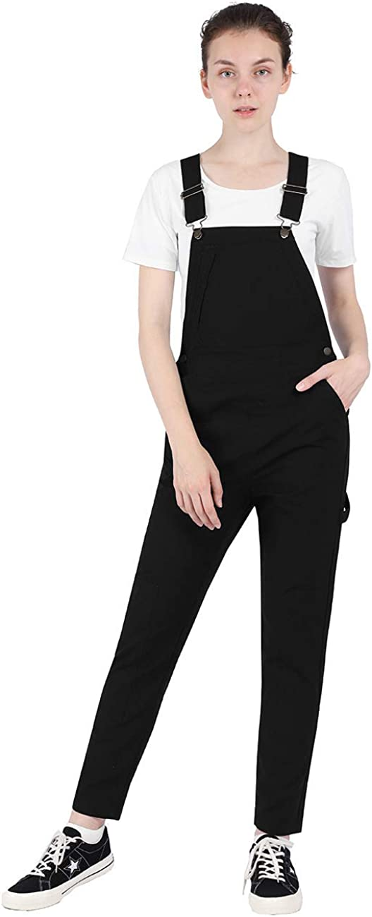 DISHANG Women's Casual Overalls Front Bib Straight Leg Jumpsuits with Pockets Pants