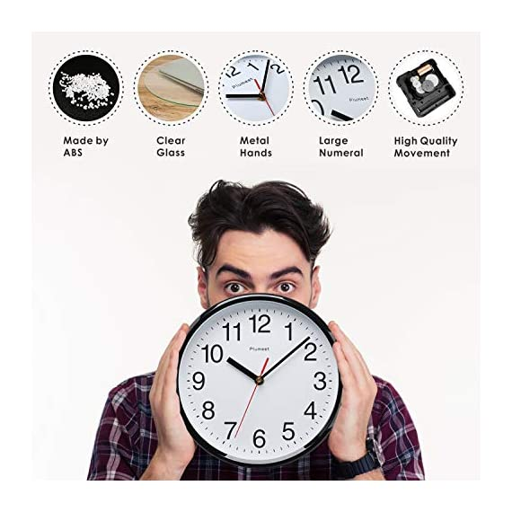 """Plumeet Silent Wall Clock - 10"""" Non Ticking Quartz Black Wall Clocks - Simple Design Wall Clocks for Living Room Decor - Battery Operated (White Face) - Non Ticking -- Precise quartz movements to guarantee accurate time, quiet sweep second hand ensure a good sleeping and work environment. Easy to Read -- Silent wall clocks with traditional numbers are clear to read, front glass cover guarantees perfect view. Concise Style -- Simple and elegant modern style can meet your all decorative need for home/school /office. - wall-clocks, living-room-decor, living-room - 51rc3mGZ nL. SS570  -"""
