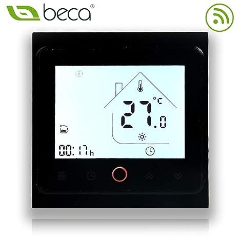 BECA 002 Serie 3 / 16A Pantalla táctil LCD Agua/Calefacción eléctrica/Caldera Termostato de control de programación inteligente con conexión WIFI ...