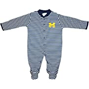 University of Michigan Wolverines Block M Striped Newborn Footed Baby Romper,Navy,3-6 Months