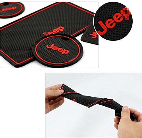 Red Non-slip Inner Door Mat Cup Holder Pads Rubber Slot Pads for Jeep Wrangler 2007-2014