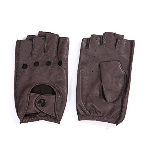 MATSU Mens Deerskin Fingerless Driving Leather Gloves ...