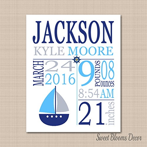 Nautical Boy Birth Announcement Nautical Nursery Wall Art Navy Blue Gray Boat Nautical Baby Gift Birthday 8X10 UNFRAMED PRINT(NOT - Ups First Class Tracking
