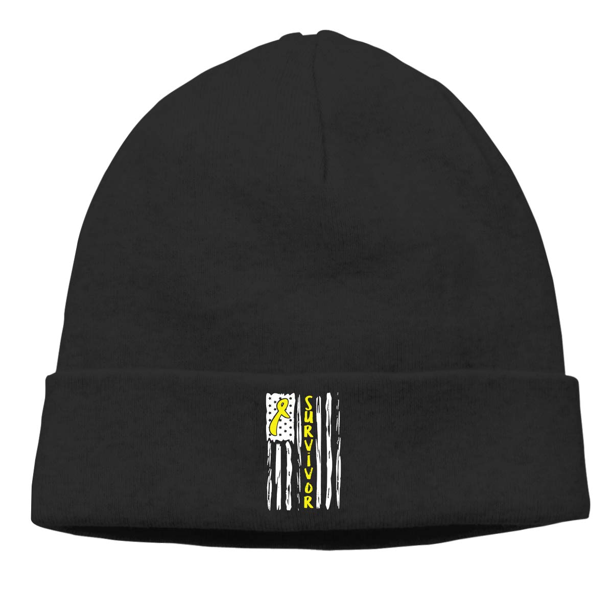 Stretchy /& Soft Winter Cap Thin Sarcoma Bone Awareness American Flag Unisex Solid Color Beanie Hat