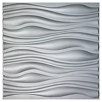 "Art3d PVC Wave Board Textured 3D Wall Panels, Grey, 19.7"" x 19.7"" (12 Pack)"