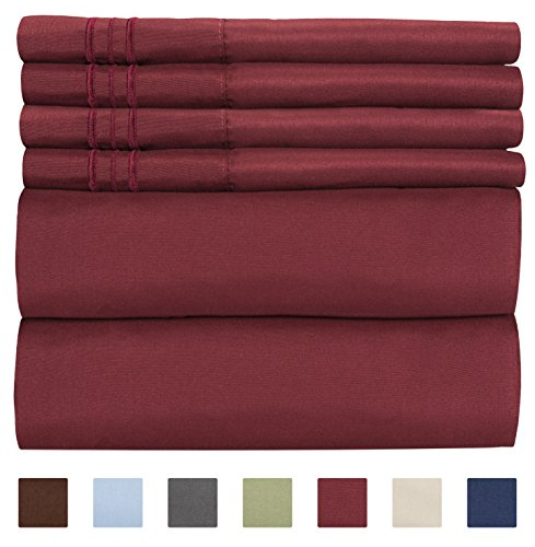 King Size Sheet Set - 6 Piece Set - Hotel Luxury Bed Sheets - Extra Soft - Deep Pockets - Easy Fit - Breathable & Cooling Sheets - Wrinkle Free - London Plaid Pink