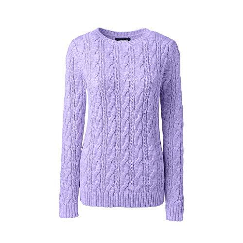 Lands' End Women's Drifter Cotton Cable Knit Sweater Crewneck, XS, Light Amethyst ()