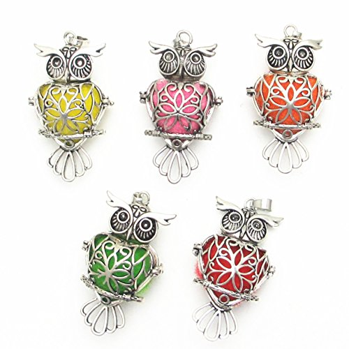 Owl Brass Cage Locket Owl Locket Perfume Essential Oil Aromatherapy Diffuser Charms Owl Hollow Pendant Craft Diffusion Ball (Owl-2) ()