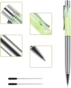 Ballpoint Pens, Jiulyning Silver Metal Pen Refills with Green Crescent, Bling Dynamic Liquid Pen Black Ink for Office Supplies Gift Pens Wedding Decor Black Ink with 2 Replacement Refills