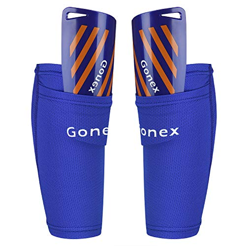 Gonex Soccer Shin Guards for Kids Adult, Youth Shin Guards Slip in Soccer Shin Pad Sleeves Canilleras for Football Games, EVA Cushion Protection Reduce Shocks & Injuries (Slip In Soccer Guards Shin)