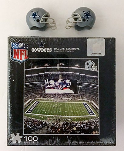 Dallas Cowboys Puzzle with Set of 2 Mini Helmets. 100 Pieces NFL Football Logo Licensed. In Box