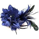 Bleu marine et Barrette bibi à plumes longues Fleur pour mère de la mariée