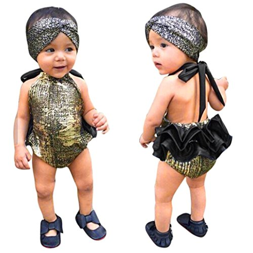 GBSELL 2PC Newborn Baby Kid Girl Outfits Clothes Bronzing Romper Jumpsuit + Headband Set (Gold, 6/12M)
