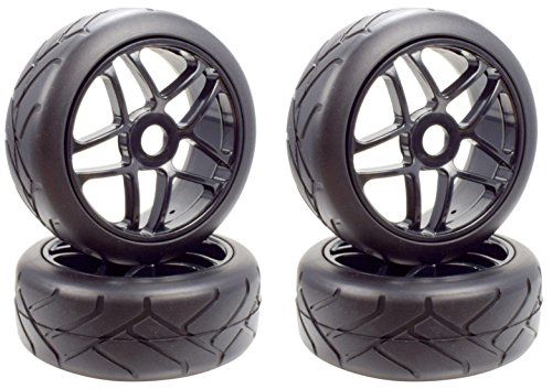 Apex RC Products 1/8 On-Road Black Star Wheels & Super Grip Tires - Set Of 4 #6021